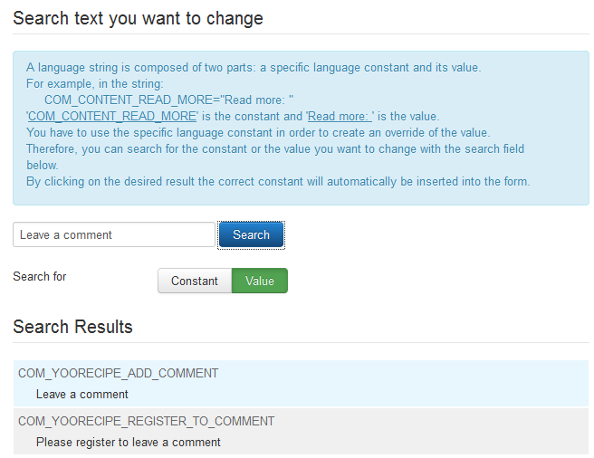Joomla search label to override