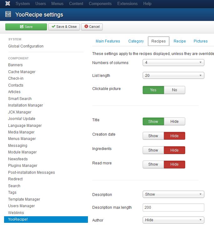 YooRecipe Blog Display Options