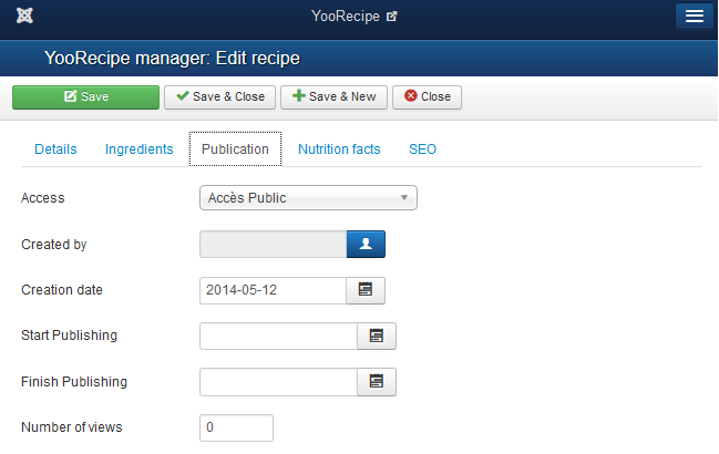 YooRecipe Publishing tab