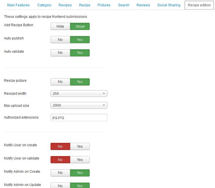 YooRecipe Recipe Edition Display Options
