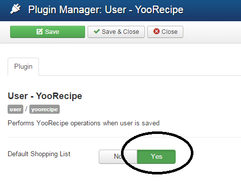 YooRecipe User Plugin Settings